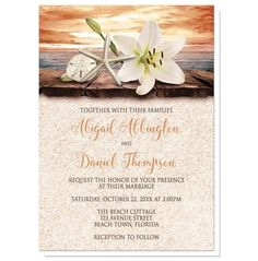 I wanted to share with you these Lily Seashells Sand Autumn Beach Wedding Invitations? Do you like them?  | Autumn beach wedding invitations for your destination or beach themed wedding celebration during the fall months. Floral Autumn beach Wedding invitations with an elegant white lily, a starfish, and a sand dollar on a rustic wood dock overlooking the open water under a tropical orange sunset sky. Your wedding details are printed in dark brown and orange over a beige sand texture…