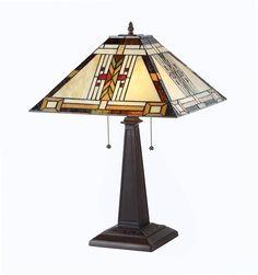 Chloe 'GODE' Tiffany-style Mission 2 Light Table Lamp 16' Shade