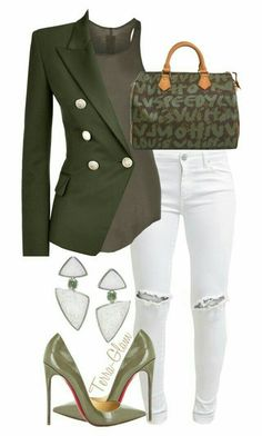 Green Army Jacket + White Distressed Jeans + Green Louboutins