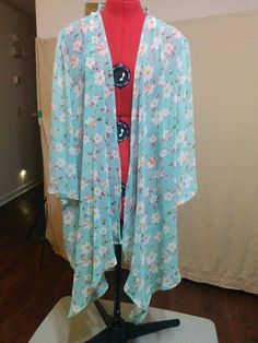 NEW Open Shawl Front Chiffon Jacket Olrain Size L Cherry Blossoms on Mint #Olrain #OpenFrontJacket