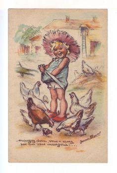 Carte-postale-ancienne-Germaine-BOURET-Mangez-donc-vous-ne-savez-pas