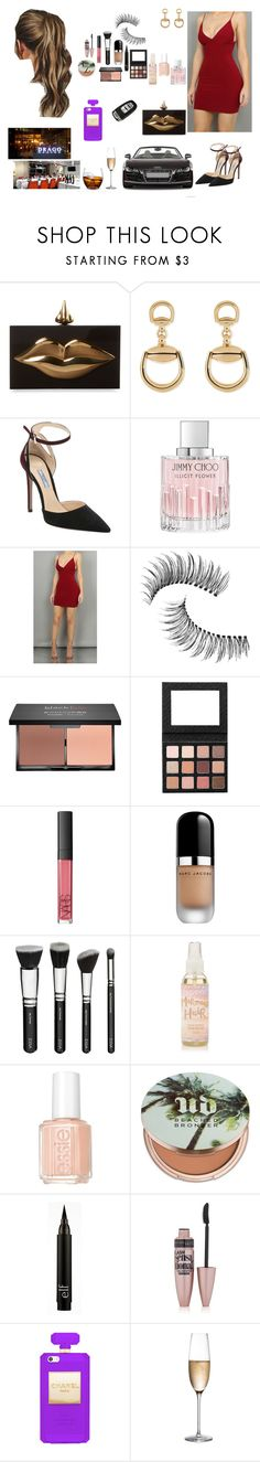 """""""Late engagement Dinner at fancy restaurant"""" by alltheprettythings ❤ liked on Polyvore featuring Charlotte Olympia, Spyder, Gucci, Prada, Jimmy Choo, Trish McEvoy, blacklUp, NARS Cosmetics, Marc Jacobs and Essie"""