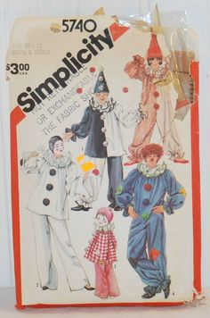 Simplicity 5740 (c.1982) Boys and Girls Size 10-12 Clown Outfits, Halloween Costume, Fun Play Dress Up, Mime, Vintage Sewing Pattern by TooHipChicks on Etsy