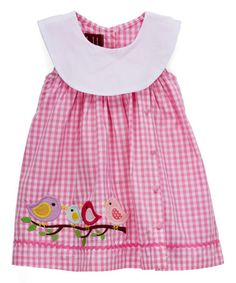 This Pink Gingham Bird Yoke Dress - Infant, Toddler & Girls is perfect! #zulilyfinds