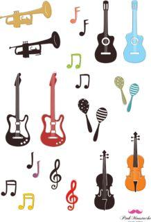 ラフに描かれた楽器や音符の無料イラスト
