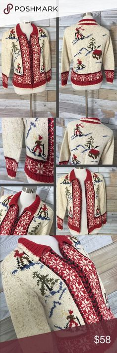 🌺Vintage🌺 Hand-knitted Zip-Up Ski Motif Sweater This is one of my absolute favorite recent vintage finds! Beautiful handknitted sweater with adorable motif of ski-slopes, skiers, & trees highlighted by contrast snowflake knitting around front zip-up area & sleeve cuffs...so unique & very warm and cozy! Full picture of skiers on slopes on the back--the details are amazing & just not ones you see as much anymore in knit-wear...beautiful winter colors, definitely a vintage piece with light…