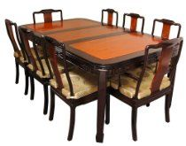 Oriental Furniture Formal Elegant Dining Table, Chinese Rosewood Dining Room Set with 8 Chairs, Two Tone Finish - Click pics for price Dining Room Furniture Sets, Leather Dining Room Chairs, Dining Room Sets, Upholstered Dining Chairs, Dining Room Design, Dining Table Sale, Kitchen Dining Sets, 7 Piece Dining Set, Dining Tables