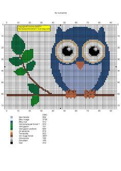 Blue owl on branch - free pattern