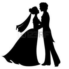Silhouettes of bride and groom Stock Vector