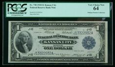"""1918, $1 Federal Reserve Bank Note. PCGS Very Choice New 64 An attractive """"Spread Eagle"""" $1 from the Kansas City district bank. Estimated Value $300 - 400. #Banknotes #USFederal #MADonC"""