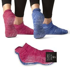 LA Active Grip Socks  2 Pairs  Yoga Pilates Barre Ballet Non Slip Covered Slublime Blue and Knit Ruby M -- More info could be found at the image url.Note:It is affiliate link to Amazon.