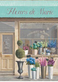 Art Print: Flower Store Errand Art Print by Marco Fabiano by Marco Fabiano : Flower Shop Design, Flower Market, Botanical Art, Art Lessons, Framed Artwork, Glass Art, Art Prints, Painting, Giclee Print