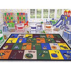 Ottomanson Jenny Collection Children's Multi Color Educational Alphabet (Non-Slip) Kids Classroom Area Rugs, X Multicolor Modern Color Palette, Modern Colors, Vibrant Colors, Slip, Kids Area Rugs, Alphabet Pictures, Alphabet Design, Kids Education, Education City