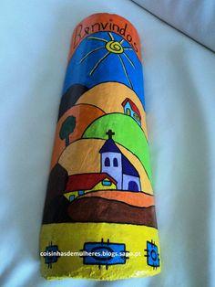 Resultado de imagen de telhas decoradas infantil Ceramic Tile Art, Clay Tiles, Diy And Crafts, Arts And Crafts, Native American Pottery, Country Paintings, Painted Pots, Stone Painting, Clay Art