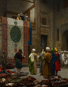 """""""Le Marchand de Tapis,"""" 1887, Jean-Léon Gérôme (11 May 1824–10 Jan 1904), French painter and sculptor in the style known as Academicism. The range of his work included historical painting, Greek mythology, Orientalism, portraits and other subjects, bringing the Academic painting tradition to an artistic climax. In 1856, he visited Egypt for the first time. This would herald the start of many orientalist paintings depicting Arab religion, genre scenes and North African landscapes. --Wikipedia"""
