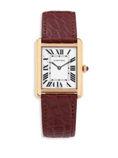 Cartier Tank Solo Large 18K Pink Gold & Alligator Strap Watch