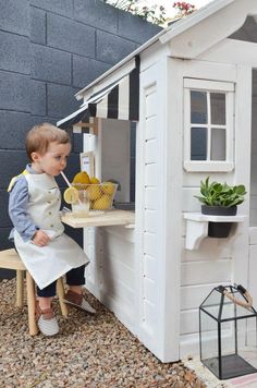 From Drab to Fab: A Playhouse Renovation You've Got To See — Momma Society Outdoor Playhouse DIY Renovation Kids Indoor Playhouse, Outside Playhouse, Playhouse Kits, Backyard Playhouse, Build A Playhouse, Painted Playhouse, Outdoor Playhouses, Costco Playhouse, Playhouse Interior