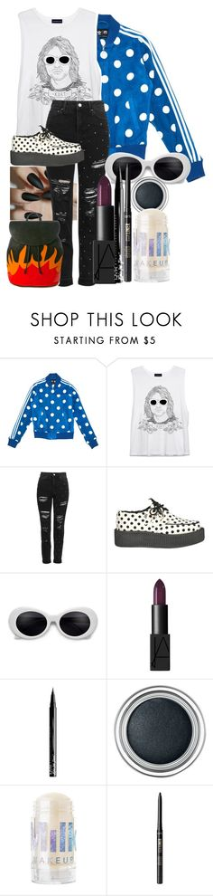 """""""lined up lookin like cobain"""" by fxneral ❤ liked on Polyvore featuring adidas, Topshop, T.U.K., NARS Cosmetics, Christian Dior, tarte and American Vintage"""