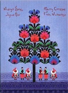 Polish Folk Christmas Card - Presenting The Christmas Szopka (Creche)