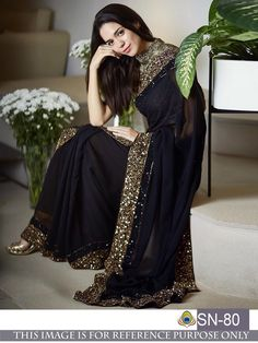 Sarees Online - Buy Latest collection of Fancy Sarees, Designer Sarees, Bollywood Sarees Online in India. Wide range of Saris for every occasion like wedding, festivals, sangeet. Georgette Saree Party Wear, Saree Dress, Georgette Sarees, Georgette Fabric, Sari Design, Saree Designs Party Wear, Saree Blouse Designs, Black Saree Designs, Trendy Sarees