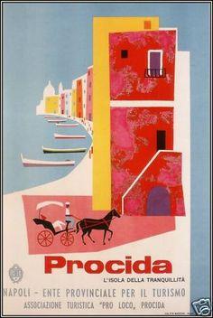 Procida Italy 1954 Vintage Poster Art Canvas Print Italian Travel | eBay