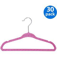 Baby/Kids' Printed Velvet Polka Dot Hangers, Set of 30, Baby Pink