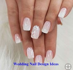 Wedding Nails Wedding Nails: Beautiful and Elegant Nail Designs - Elegant Nails White Tip Nail Designs, Elegant Nail Designs, Elegant Nails, Nail Art Designs, Sparkly Nail Designs, Beauty Elegant, Bride Nails, Wedding Nails For Bride, Wedding Nails Design