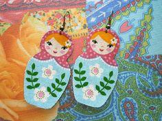 Bohemian Earrings-Cotton Fabric Jewelry-Matryoshka-Russian Doll-Turquoise Floral Body Pink Polka Dot Shawl Blonde Hair-Hippie Jewelry