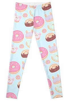 'Kawaii Donuts' Leggings by Gothic Leggings, Artwork Prints, Knitted Fabric, Donuts, Kawaii, Fashion Styles, Vibrant, Range, Design