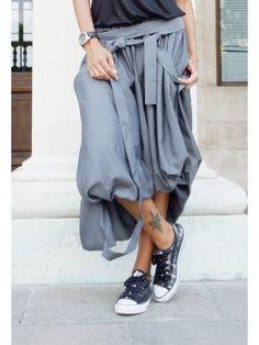 Grey Extravagant High Low Skirt A09499  #Aakasha #looseskirt  #maxi #long #elegant #asymmetric #grey #extravagant