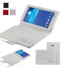 For <font><b>Samsung</b></font> <font><b>Galaxy</b></font> <font><b>Tab</b></font> <font><b>3</b></font> <font><b>Lite</b></font> <font><b>7</b></font>.0 <font><b>inch</b></font> T110 Detachable Bluetooth Keyboard Portfolio Leather Ultra Slim Stand Case Cover, <font><b>White</b></font> Price: USD 24.98 | UnitedStates
