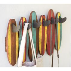 The unique nautical way to hang your towel is on this Colorful Wooden Surfboards Coat Rack.