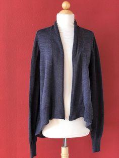 EILEEN FISHER Grey Metallic Shimmering Merino Wool Open Drape Cardigan Sweater M #EileenFisher #Cardigan