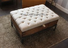 Vintage European Grain Sack Button Tufted by TheCratePeople
