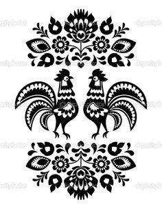 Polski etniczne kwiatowy haft z koguty w czerni i bieli - Ilustracja stockowa: 26446761