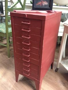 1960 S Vintage Look Metal Filing Cabinet Up Cycled With Autentico Chalk Paint In Warm Chesnut Shade Then Finished The Light Brown