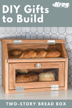 This beautiful bread box is the perfect place to store your favorite loaves. The shelf is a built-in cutting board. And the Plexiglas doors mean you can instantly see what you have in stock. Woodworking Projects Diy, Diy Wood Projects, Wood Crafts, Kids Woodworking, Wooden Bread Box, Rustic Bread Boxes, Bread Storage, Diy Kitchen Storage, Diy Furniture Plans