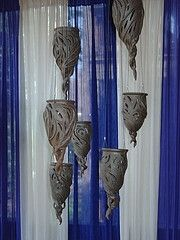 hanging lanterns pottery ceramics clay... Oooo! Definitely doing! Carving. Cutouts. Porcelain.