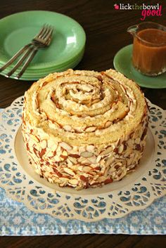 Butterscotch Cream Roll-Up Cake with Butterscotch Sauce!!