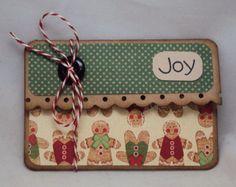 Gingerbread Joy Christmas Gift Card Holder- Paper Goods Cards Christmas gift card holder card christmas gift holiday gift wrap gift certificate holder season green joy gingerbread country