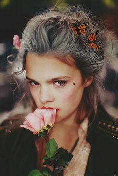 Modern MarieAntoinette. Love the grey hair and the heart on cheekbones.
