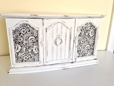 large Shabby chic jewelry armoire vintage White by MySugarBlossom, $74.00