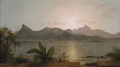 Artwork by Martin Johnson Heade, Sunset Harbor at Rio, Made of Oil on canvas