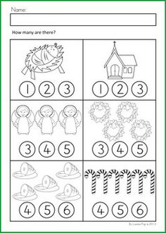 Math & Literacy Worksheets & Activities - Christmas {98 pages} A page from the unit: Count and color (or use with dot paints)