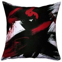 Red And Black Throw Pillows With Brush Stroke Print