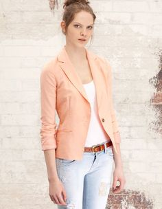 Casual blazer with single button Peach Blazer, Orange Blazer, Colored Blazer, Casual Blazer, Blazer Outfits, Work Outfits, Blazers, Business Formal, Shoes