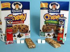 Quaker Chewy Granola Bars  Chocolate Chip (regular) (24g)  Sugars, total:		7g  Calories, total:		100   Calories from sugar:	28    Low Fat Ch...