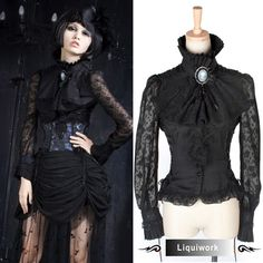 High Neck Victorian Blouse | ... Seventies Gothic Victorian Vampire Clothing Long Sleeve Shirt Blouse