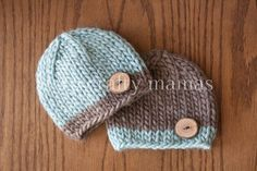 Hand Knit Newborn Twin Little Boy Button Beanies Set