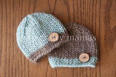 Hand Knit Newborn Twin Little Boy Button Beanies Set